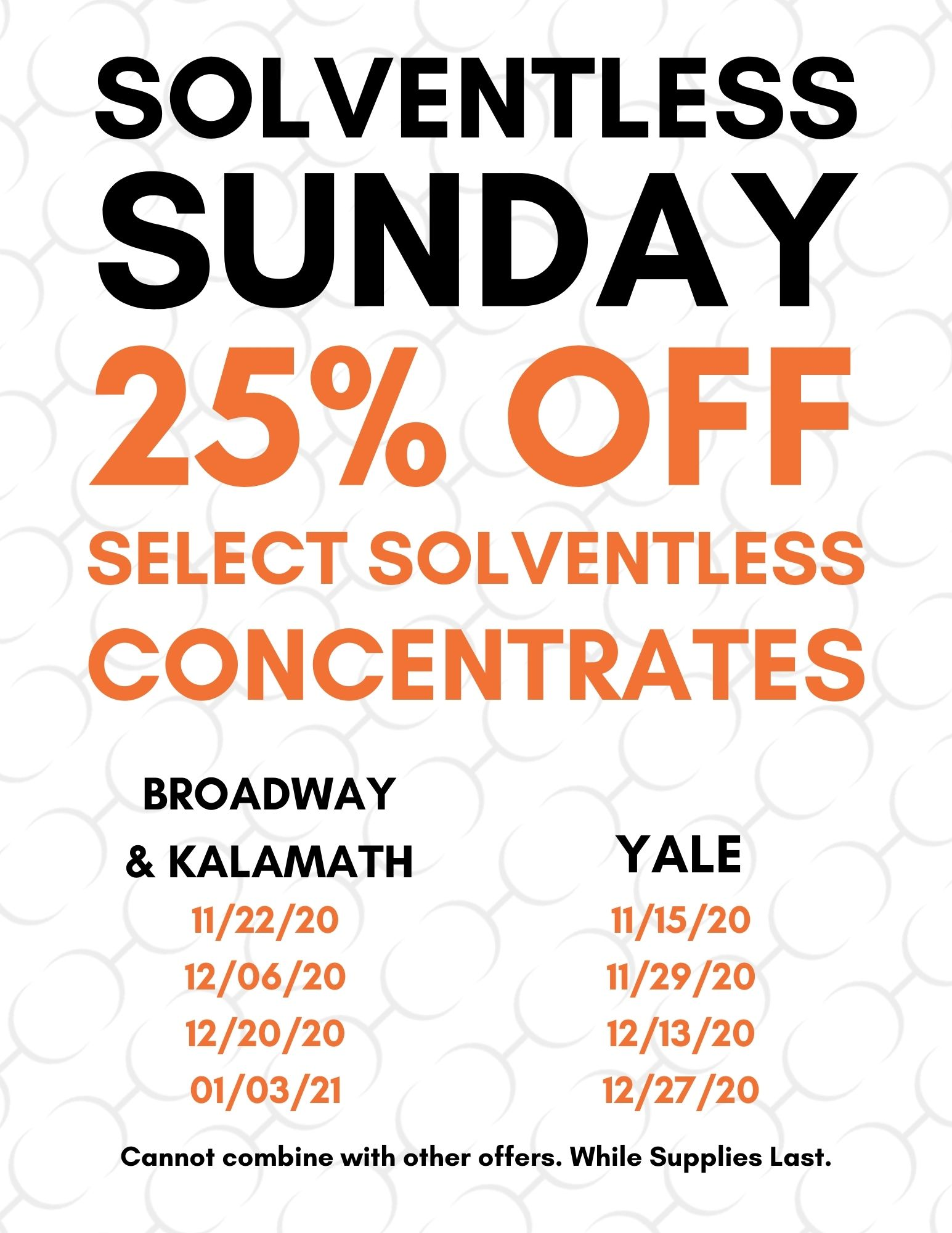 Solventless Sunday Schedule 11.09.20